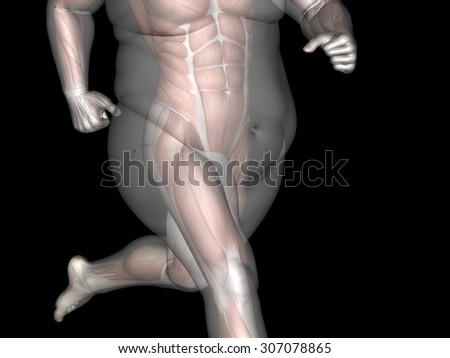 Concept or conceptual 3D fat overweight vs slim fit diet with muscles young man isolated on black background metaphor weight loss, body, fitness, fatness, obesity, health, healthy, male, dieting shape - stock photo