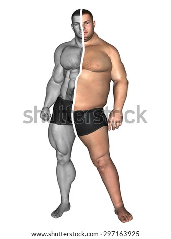 Concept or conceptual 3D fat overweight vs slim fit with muscles young man on diet isolated on white background metaphor weight loss, body, fitness, obesity, health, healthy, male, dieting or shape - stock photo