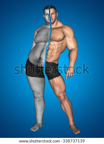 Concept or conceptual 3D fat overweight vs slim fit with muscles young man on diet on blue background for weight loss, body, fitness, fatness, obesity, health, healthy, male, dieting or shape - stock photo