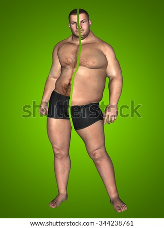 Concept or conceptual 3D fat overweight vs slim fit with muscles young man on diet on green background metaphor weight loss, body, fitness, fatness, obesity, health, healthy, male, dieting, shape - stock photo