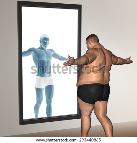 Concept or conceptual 3D fat overweight vs slim fit with muscles young man on diet reflecting in a mirror metaphor weight loss, body, fitness, obesity, health, healthy, male, dieting or shape - stock photo
