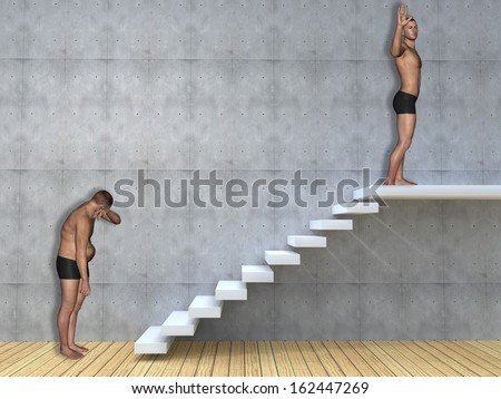 Concept or conceptual 3D fat overweight vs slim fit young man on diet over concrete wall,stair background,metaphor to health,body,fitness,dieting,abdomen,loss,lifestyle,obesity,unhealthy,sport or thin - stock photo