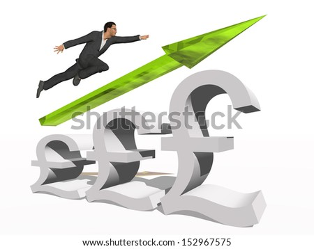 Concept or conceptual 3D green glass pound symbol with arrow pointing up isolated on white background with businessman as a metaphor for business,finance,money,growth,success,stock,currency or economy - stock photo