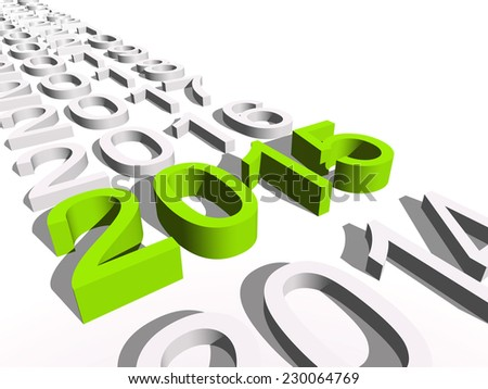 Concept or conceptual 3D green 2015 year isolated on white background as metaphor to holiday, symbol, Christmas, calendar, happy, eve, December, January, time, change, season, new year, winter graphic