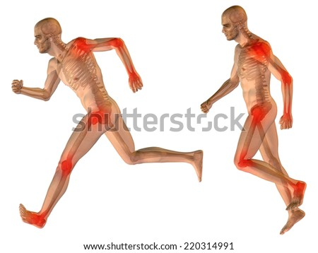 Concept or conceptual 3D human anatomy body with pain isolated on black background as metaphor to health, medicine, medical, biology, osteoporosis, arthritis, joint, disease inflammation or ache - stock photo