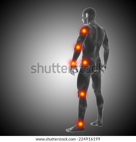 Concept or conceptual 3D human anatomy mesh or wireframe body with pain, ache isolated on black background, metaphor to health, medicine, medical, biology, osteoporosis, arthritis, joint, inflammation - stock photo