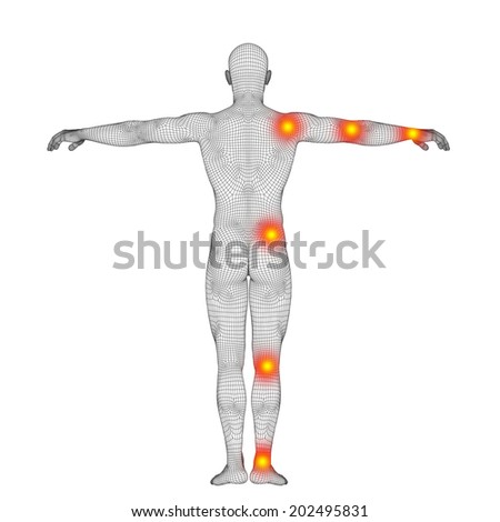 Concept or conceptual 3D human anatomy mesh or wireframe body with pain, ache isolated on white background, metaphor to health, medicine, medical, biology, osteoporosis, arthritis, joint, inflammation - stock photo