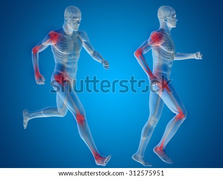 Concept or conceptual 3D human man or male skeleton pain or ache anatomy transparent body, blue background metaphor to medical, health, science, rheumatism, inflamation, injury, osteoporosis, disease - stock photo