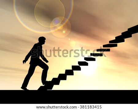 Concept or conceptual 3D male businessman on stair or steps over sunset sky background metaphor to success, climb, business, rise, achievement, growth, job, career, leadership, education, goal future - stock photo