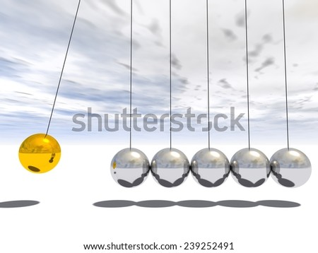 Concept or conceptual 3D metal silver and gold creative sphere Newton cradle pendulum over a sky background metaphor to balance, action, success, business, science, leadership,energy, team or teamwork - stock photo