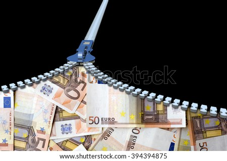 Concept or conceptual 3D metal zipper from to euro money banknotes or cash isolated on black banking background, metaphor to business, finance, savings, growth, wealth, shopping, vision, economy trade - stock photo