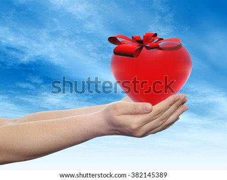 Concept or conceptual 3D red abstract heart sign or symbol with ribbon held in hands by a man, woman or child on blue sky background, metaphor for love, holiday, gift, care, valentine or romantic