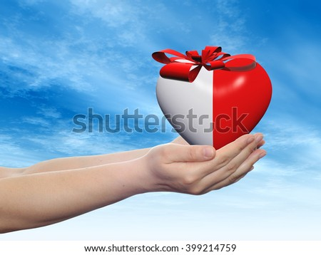 Concept or conceptual 3D red abstract heart sign or symbol with ribbon held in hands by a man, woman or child on blue sky background metaphor for love, holiday, gift, care, valentine or romantic - stock photo