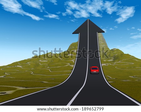 Concept or conceptual 3D red car on arrow road pointing up, upward over a mountain to sky background, metaphor to success, business, transportation, progress, increase, growth, goal, top or challenge - stock photo