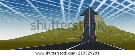 Concept or conceptual 3D red car on arrow road pointing up, upward over a mountain to sky background, metaphor to success, business, future, transportation, progress, increase, growth, goal challenge - stock photo