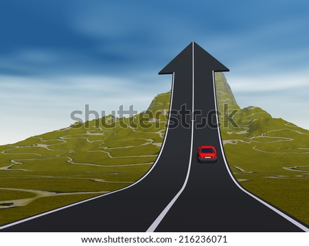Concept or conceptual 3D red car on arrow road pointing up, upward over a mountain to sky background, metaphor to success, business, future, transportation, progress, increase, growth, goal challenge