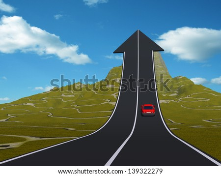 Concept or conceptual 3D red car on arrow road pointing up,upward over a mountain to sky background, metaphor to success,business,future,transportation,progress,increase,growth,goal,top or challenge