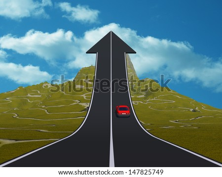 Concept or conceptual 3D red car on arrow road pointing up,upward over a mountain to sky background, metaphor to success,business,future,transportation,progress,increase,growth,goal,top or challenge - stock photo