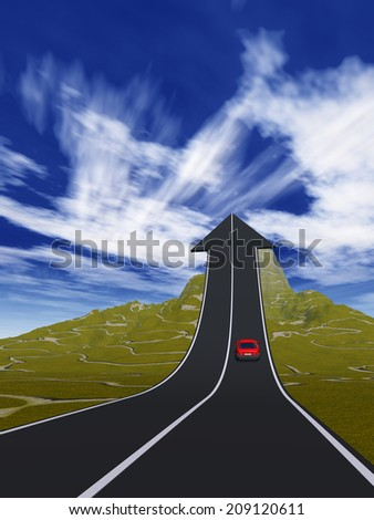 Concept or conceptual 3D red car on arrow road pointing up,upward over a mountain to sky background, metaphor to success, business, future, transportation, progress, increase, growth, goal challenge - stock photo