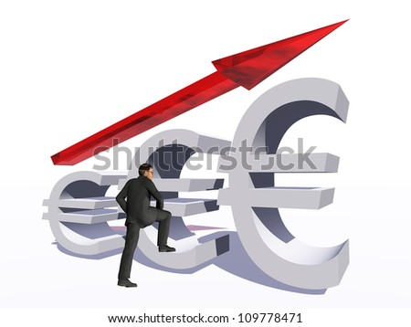 Concept or conceptual 3D red glass euro symbol with arrow pointing up isolated on white background with businessman as a metaphor for business,finance,money,growth,success, stock,currency or economy