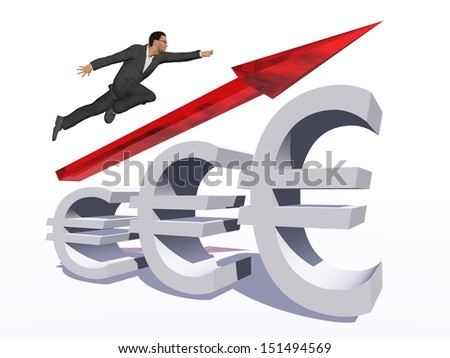 Concept or conceptual 3D red glass euro symbol with arrow pointing up isolated on white background with businessman as a metaphor for business,finance,money,growth,success,stock,currency or economy - stock photo