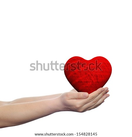Concept or conceptual 3D red heart sign or symbol held in hands by a woman or child isolated over a white background as a metaphor for love,holiday,wedding,care,valentine,protection or romantic