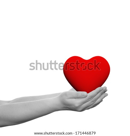 Concept or conceptual 3D red heart sign or symbol held in hands by a woman or child isolated over a white background as a metaphor for love, holiday, wedding, care, valentine, protection or romantic - stock photo