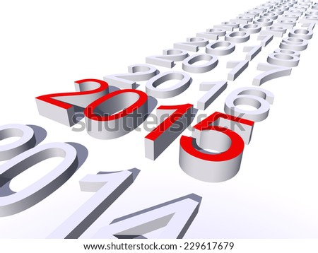 Concept or conceptual 3D red 2015 year isolated on white background as metaphor to holiday, symbol, Christmas, calendar, happy, eve, December, January, time, change, season, new year or winter graphic - stock photo