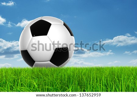 Concept or conceptual 3D soccer ball in fresh green summer or spring field grass with a blue sky background, metaphor to sport,goal,competition,play,team,leisure,fun,stadium,meadow,activity soccerball - stock photo