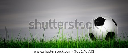 Concept or conceptual 3D soccer ball in fresh green summer or spring field grass with a blue sky background, metaphor to sport, goal, competition, play, team, fun, stadium, meadow, activity soccerball - stock photo