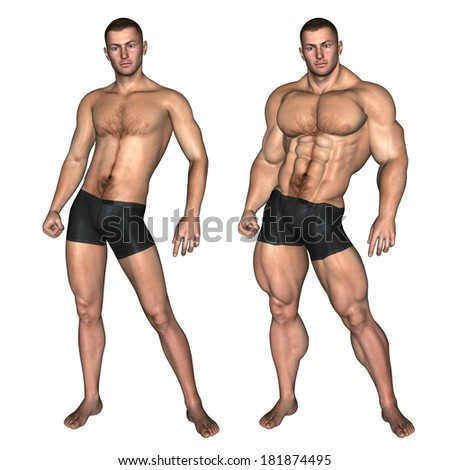 Concept or conceptual 3D strong young male man bodybuilder isolated on white background, metaphor to sport, athlete, fitness, health, fit, sexy, strength, power, attractive, bodybuilding, gym or diet - stock photo