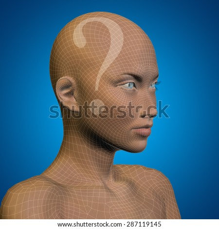 Concept or conceptual 3D wireframe human female woman question ask head, blue background metaphor for technology, cyborg, digital, girl, virtual, avatar, model, science, fiction, future, abstract mesh