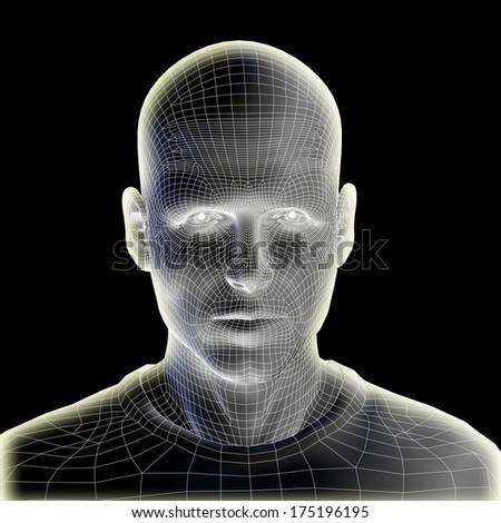 Concept or conceptual 3D wireframe human male head isolated on black background, metaphor to technology, cyborg, digital, virtual, avatar, model, science, fiction, future, mesh or abstract - stock photo