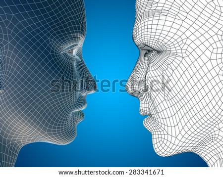 Concept or conceptual 3D wireframe human male man and female woman head on blue gradient background, metaphor to technology, cyborg, digital, virtual, avatar, model, science, love, relation or future - stock photo