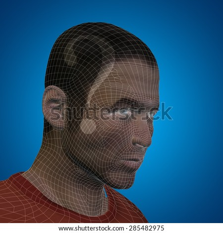 Concept or conceptual 3D wireframe human male man question ask head on blue background metaphor for technology, cyborg, digital, virtual, avatar, model, science, fiction, future, abstract mesh
