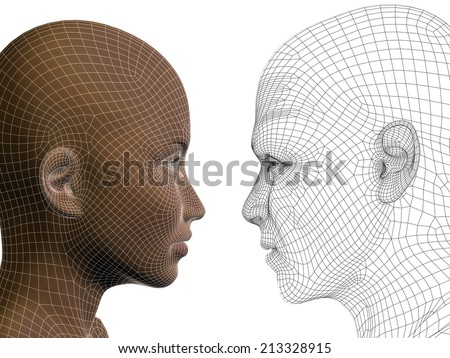 Concept or conceptual 3D wireframe human male or female head isolated on background, metaphor to technology, cyborg, digital, virtual, avatar, model, science, love, relation or future - stock photo