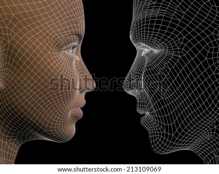 Concept or conceptual 3D wireframe human male or female head isolated on black background, metaphor to technology, cyborg, digital, virtual, avatar, model, science, love, relation or future - stock photo