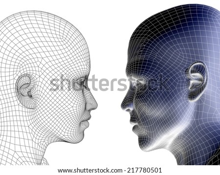 Concept or conceptual 3D wireframe human male or female head isolated on white background, metaphor to technology, cyborg, digital, virtual, avatar, model, science, love, relation or future