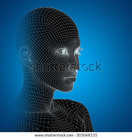 Concept or conceptual 3D wireframe young human female or woman face, head on blue background metaphor for technology, cyborg, digital, virtual, avatar, model, science, fiction, future, mesh, abstract