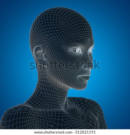 Concept or conceptual 3D wireframe young human female or woman face or head on blue background metaphor for technology, cyborg, digital, virtual, avatar, model, science, fiction, future, mesh abstract