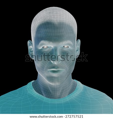 Concept or conceptual 3D wireframe young human male or man head isolated on background as metaphor for technology, cyborg, digital, virtual, avatar, model, science, fiction, future, mesh or abstract - stock photo