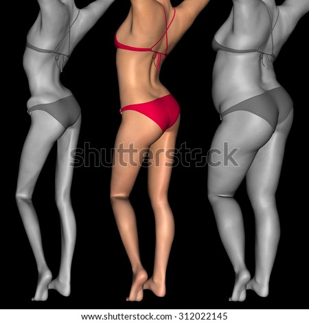 Concept or conceptual 3D woman, girl as fat, overweight vs fit healthy, skinny underweight anorexic female before and after diet, metaphor to health, nutrition, beauty, body, sport, slimming or shape - stock photo