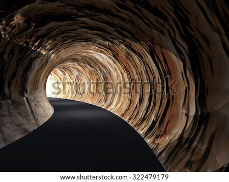 Concept or conceptual dark abstract road tunnel with bright light at the end background metaphor to hope, freedom, exit, life, faith, motion, speed, dream, success, vision, future, fear or salvation - stock photo