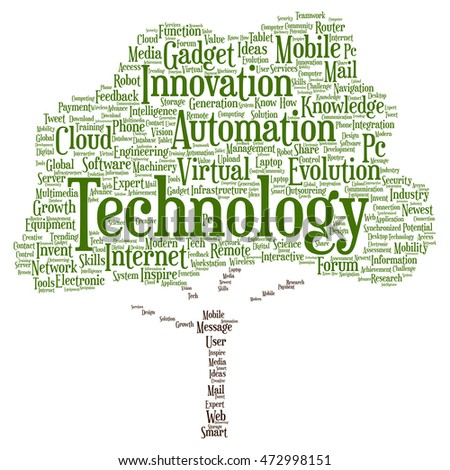 Concept or conceptual digital smart technology tree word cloud isolated on background metaphor to information, innovation, internet, future, development, research, evolution or intelligence
