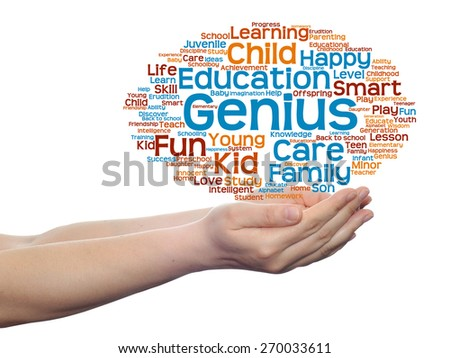 Concept or conceptual education abstract word cloud, human man hand on white background, metaphor to child, family, school, life, learn, knowledge, home, study, teach, achievement, childhood or teen - stock photo