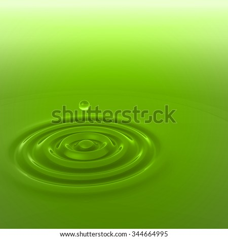 Concept or conceptual green liquid drop falling in water with ripples and waves background - stock photo
