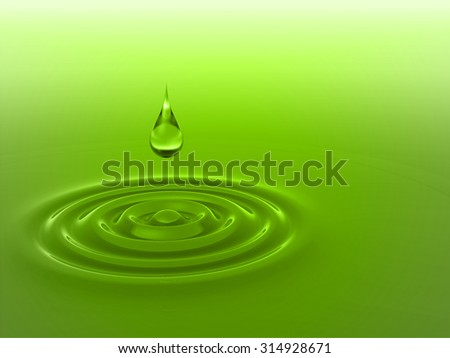 Concept or conceptual green liquid drop falling in water with ripples and waves background metaphor to nature, natural, summer, spa, drink, cool, business, environment, rain or health design - stock photo