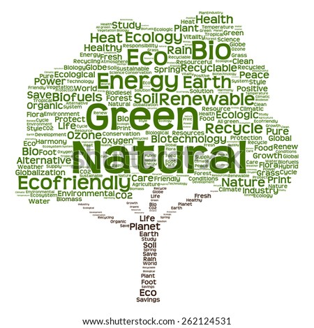 Concept or conceptual green text word cloud as tree isolated on white background, metaphor to nature, ecology, energy, natural, life, world, global, protect, environmental, biofuel or recycling - stock photo
