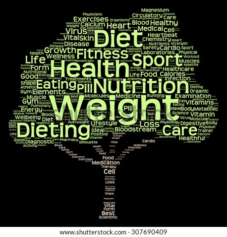 Concept or conceptual green text word cloud or tagcloud tree isolated on black background, metaphor to health, nutrition, diet, healthy, wellness, body, energy, medical, sport, heart or science - stock photo
