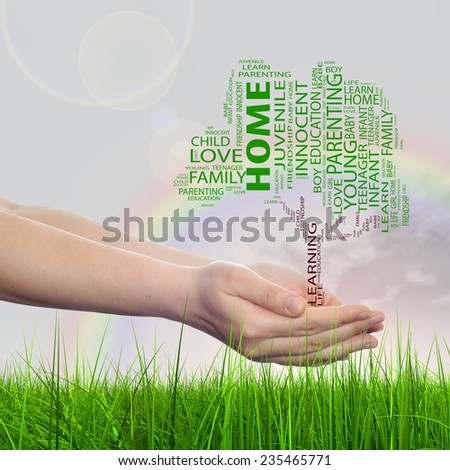 Concept or conceptual green text word cloud tagcloud as tree on man or woman hand on rainbow sky background and grass, metaphor to child, family, education, home, love and school learn  - stock photo